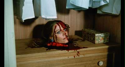 "Is your dresser decorated with one of these? The head of the killer's mom from ""Pieces"""